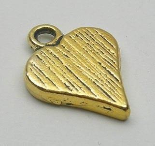 Golden Love Heart Metal Pendant Beads (HB12) 15