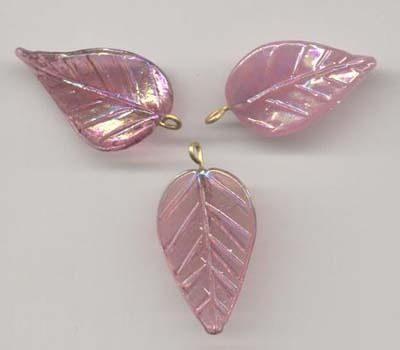 10 Autumn Leaves Pendants - Pink (39mmx20mm) 2