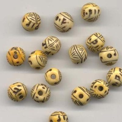 5 Hand Crafted Bone Round Beads (12mm) 1