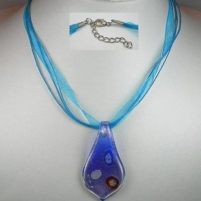 Dark Blue Organza/Cotton Wax Necklace Chain 4