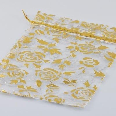 Golden Floral Organza Bags 9