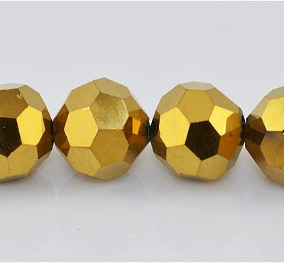 10 Round Czech 'AB' Gold Electro Plated Glass Bead - (10mm) 9
