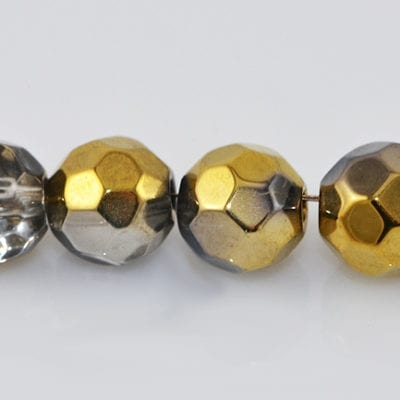 10 Czech 'AB' Round Grey Electro Plated Glass Bead - (6mm) 3