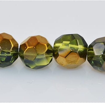 10 Czech 'AB' Round Olive Green Electro Plated Glass Bead - (6mm 4