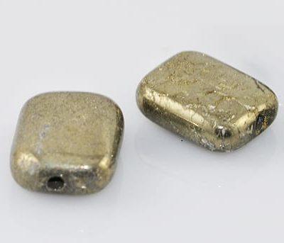 'Grade A' Natural Pyrite Rectangular Gemstone Bead - (10mmx8mm) 1