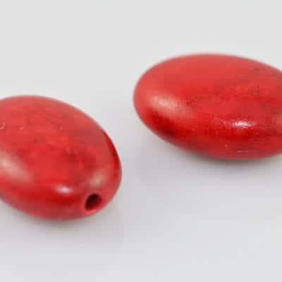 Oval Synthetic Coral Gemstone Style Bead - (14mmx10mm) 4