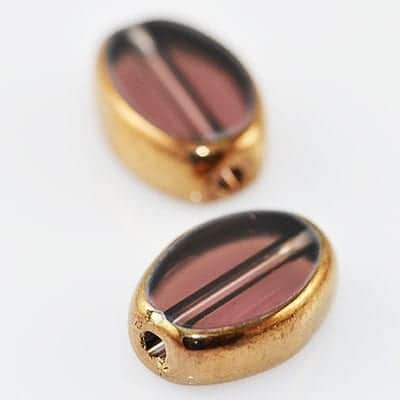 Amethyst Oval Gold Electro Plated Glass Bead - (11mmx8mm) 1