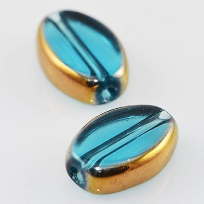 Turquoise Oval Gold Fire Polish Glass Bead - (12mmx8mm) 3