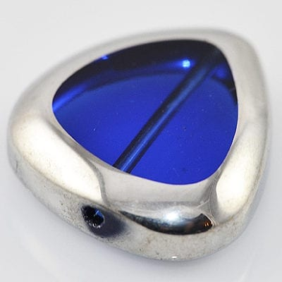 Dark Blue Silver Triangle Electro Plated Glass Bead - (18mm) 2