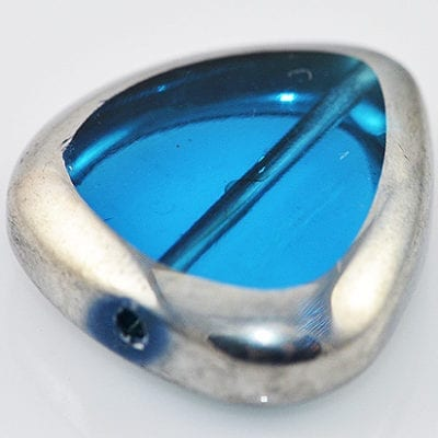 Turquoise Silver Triangle Electro Plated Glass Bead - (18mm) 4