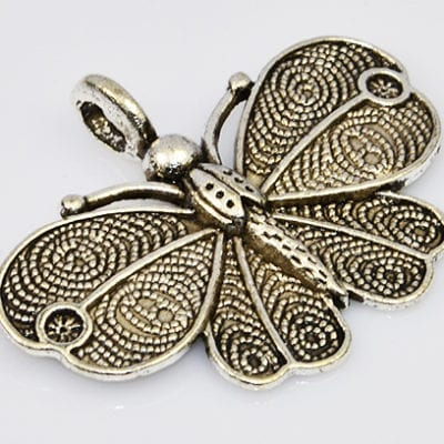 1 Absolutely Stunning Tibetan Style Butterfly Pendant - (40mmx30) - M21 1