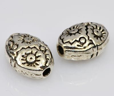 8 Tibetan Style Amazing Oval Metal Beads - (8mmX6mm) - M26 11