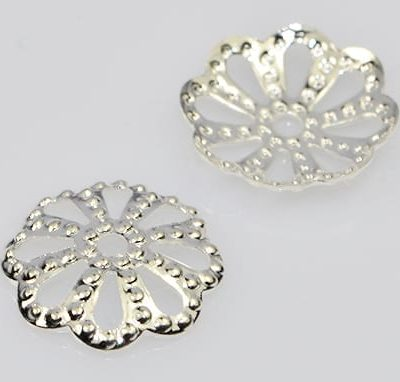 10 New Silver Round Floral Metal Bead Caps (10mm) - M31 7