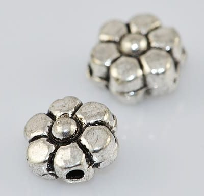 8 Tibetan Style Magnificent Floral Metal Beads - (4.5mmx7mm) - M15 12