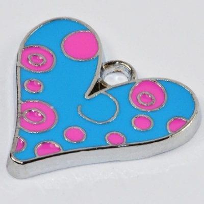 Amazing Enamel Alloy Turquoise Heart Charm - (19mmX19mm) 4