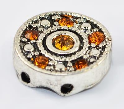 Grade 'A' Orange Rhinestone Antique Silver Connector Bead - (12m 4