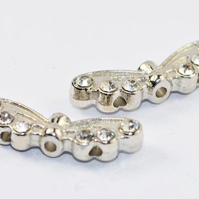 Butterfly Wing Grade 'A' Rhinestone Silver Bead - (21mm) 2