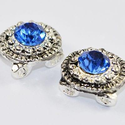 Light Blue Grade 'A' Rhinestone Silver Bead - (12mm) 15
