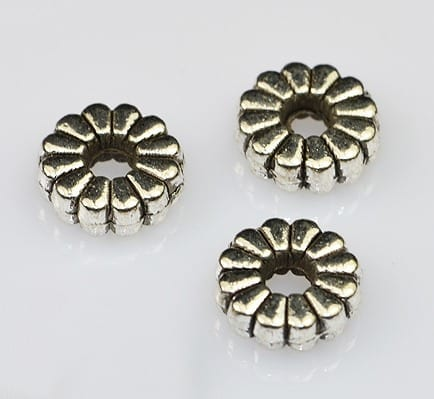 Floral Flat Silver Metal Spacer Beads (8mm) - M20 9