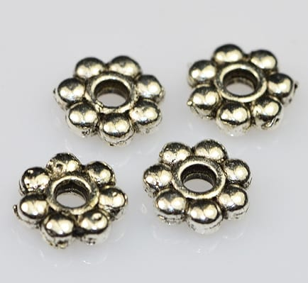 Floral Flat Silver Metal Spacer Beads (6mm) - M20 1