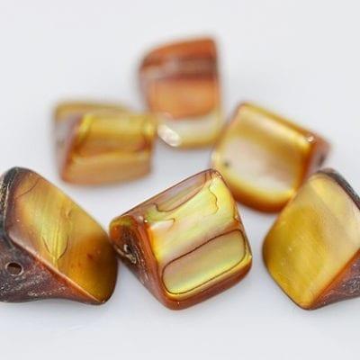 """50 Golden Erose Dyed Shell Beads 16"""" Strand - (8mmx10mm) 4"""