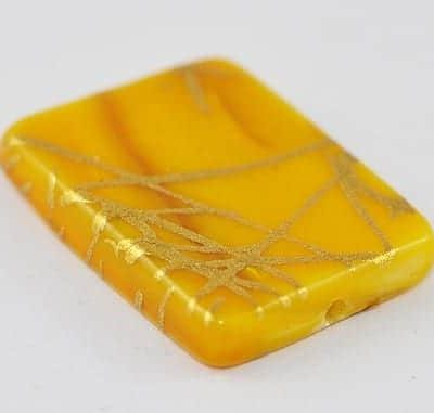 1 Yellow Gold Handmade Drawbench Shell Beads - (20mmx14mm) 4
