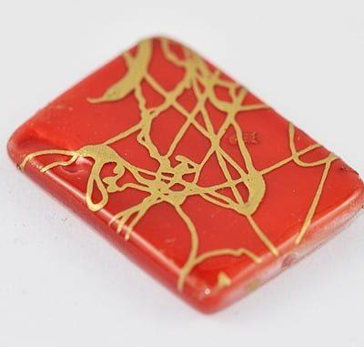1 Red Handmade Drawbench Shell Beads - (20mmx14mm) 3