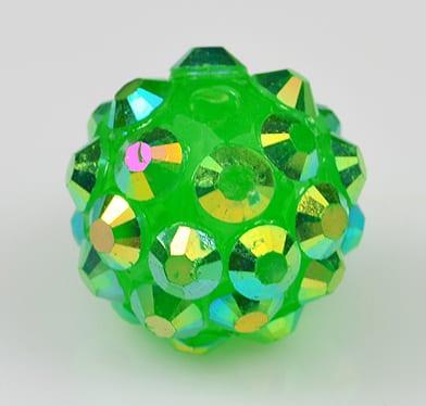 'AB' Light Green Resin Rhinestone Round Bead - (12mm) 9
