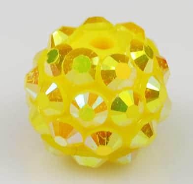 'AB' Yellow Resin Rhinestone Round Bead - (12mm) 19