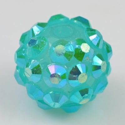 'AB' Baby Blue Resin Rhinestone Round Bead - (12mm) 1