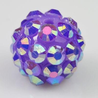 'AB' Light Purple Resin Rhinestone Round Bead - (12mm) 10