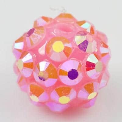 'AB' Baby Pink Resin Rhinestone Round Bead - (12mm) 2