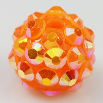 'AB' Orange Resin Rhinestone Round Bead - (12mm) 13