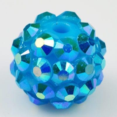 'AB' Turquoise Resin Rhinestone Round Bead - (12mm) 17