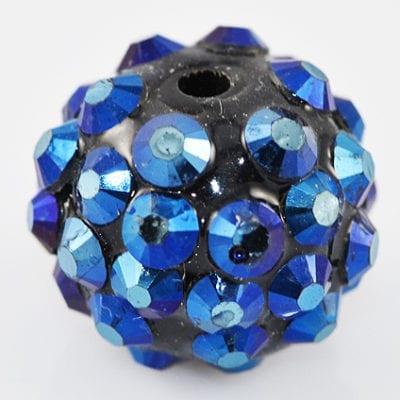 'AB' Marine Blue Resin Rhinestone Round Bead - (14mm) 11