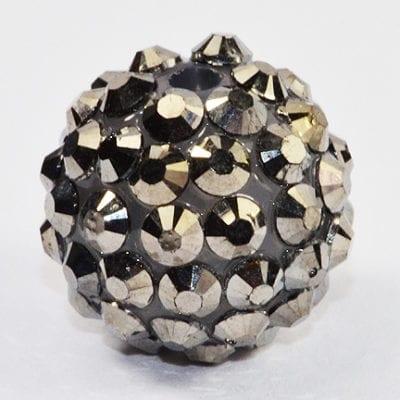 'AB' Slate Grey Resin Rhinestone Round Bead - (16mm) 16