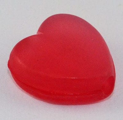 10 Heart High Quality Red Frosted Acrylic Beads - (9mmx8mm) 2