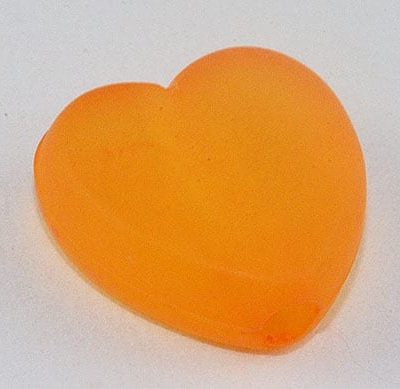 10 Heart Bright Orange Frosted Acrylic Beads - (9mmx8mm) 4