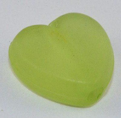 10 Heart Stunning Light Green Frosted Acrylic Beads - (9mmx8mm) 3