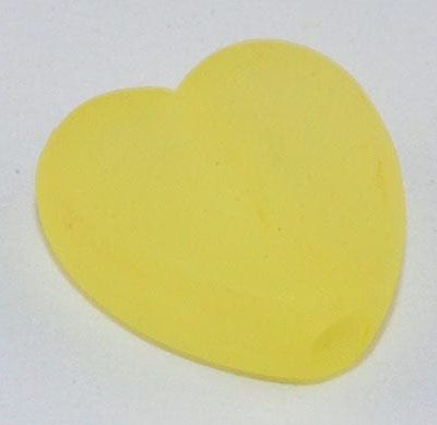 10 Heart Light Yellow Frosted Acrylic Beads - (9mmx8mm) 3