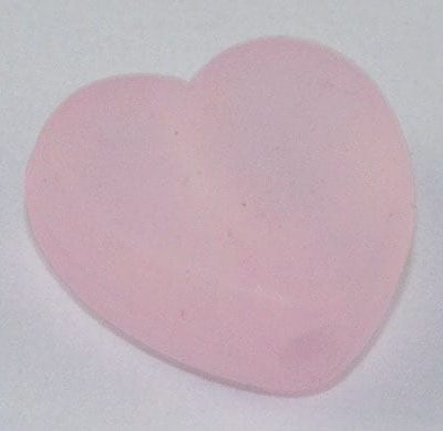 10 Heart Light Pink Frosted Acrylic Beads - (9mmx8mm) 2