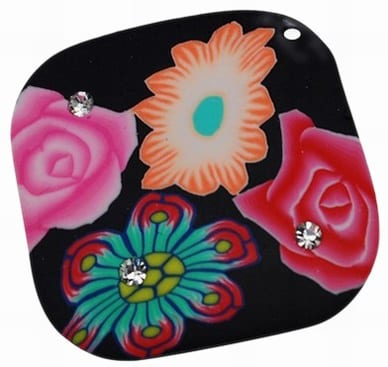 Multi Colour Floral Fimo Polymer Clay Pendant - (45mm) 1