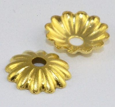 10 Round Floral Gold Metal Bead Cap - (6mm) - M25 9