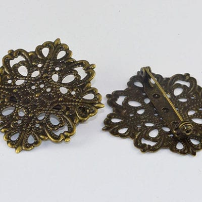 1 Antique Bronze Floral Filigree Brooche - (43mm) 1