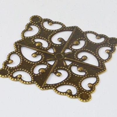 Filigree Antique Bronze Chandelier Square Metal Bead - (30mm) 13