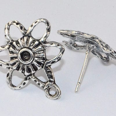 2 Silver Plated Metal Ear Studs - (16mm) 5