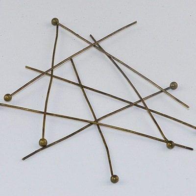 30 Bronze Plated Ball Headpins (45mm) 1