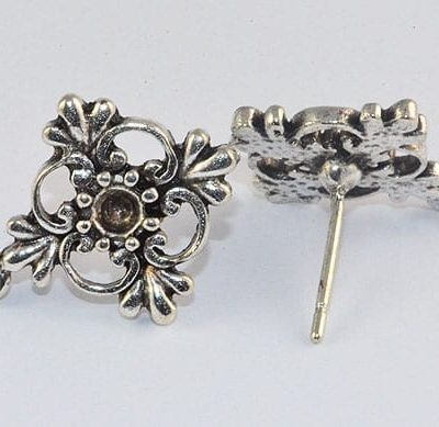 2 Silver Plated Metal Ear Studs - (15mm) 4