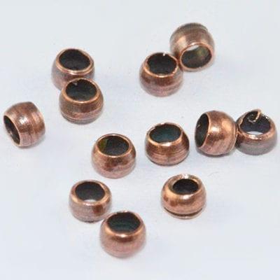 100 Barrel Antique Copper Metal Crimp Spacer Beads - (2mm) 3