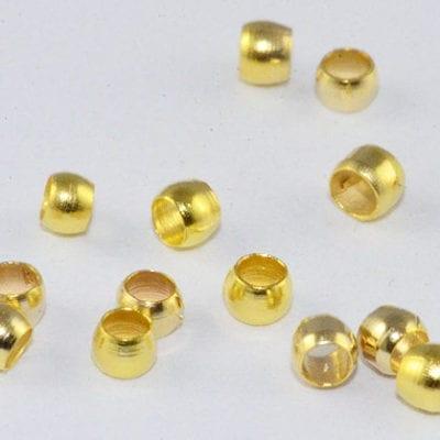 100 Barrel Light Gold Metal Crimp Spacer Beads - (2mm) 5